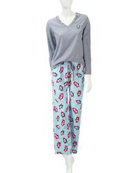 Hannah 2-pc Women's Penguin Print Pajama Set - Blue & Grey - Size: Medium