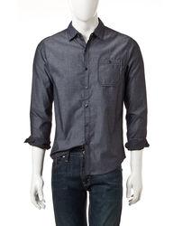Signature Studio Men's Dot Print Woven Shirt - Black - Size: M