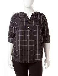 Zac & Rachel Women's Windowpane Plaid Blouse - Black/White - Size: 2X
