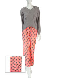 Wishful Park Women's 3pc Polka Dot Print Pajama & Blanket - Grey/Coral