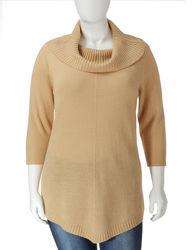 Rebecca Malone Women's Metallic Gold Cashmelon Sweater - Gold - Size: 3X