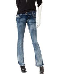 Amethyst Women's Soft Light Wash Slim Bootcut Jeans - Dark Blue - Size: 0
