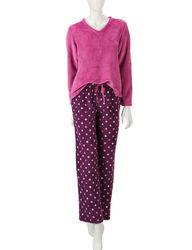 Hannah Women's 2-Piece Dot Print Folded Pajama Set - Pink - Size: Small