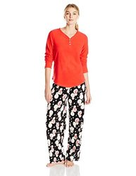Hue Women's Microfleece Pajama Sets - Red / Black - Size: Small