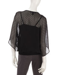 Women's Edition Metallic Striped Swiss Dot Top - Black/Silver - Size: XL