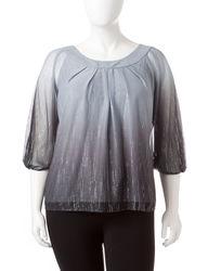 Sara Michelle Women's Ombre Glitter Blouse - Grey Multi - Size: 2X