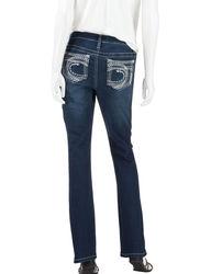 Earl Jean Women's Stitch Flat Pocket Boot Cut Jeans - Blue - Size: 10