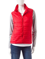 Just One 2-pc Women's Raglan Top with Puffer Vest - Grey/Red - Size: L