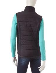Just One Women's 2 Piece Top & Puffer Vest - Mint /Black - Size: Medium