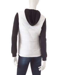 Just One 2-pc Women's Raglan Top with Puffer Vest - Black / White - Sz: XL
