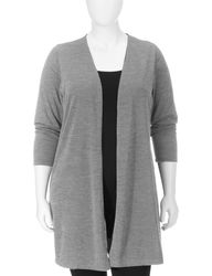 NY Collection Women's Plus-sizes Solid Color Long Cardigan - Grey - Sz: 2X