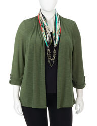 NY Women's 3/4 Sleeve Cardigan with Top & Scarf 3Fer - Olive - Size: 1X