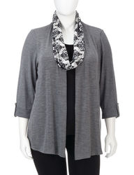NY Collection Women's Layered Top & Scarf Set - Grey/Black - Plus