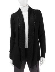 Doublju Women's 3/4 Long Sleeve Open Front Cardigans - Black - Size: S