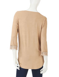 Signature Studio Women's Faux Suede Peasant Top - Brown - Size: X-Large