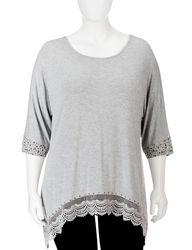 Earl Jean Plus-sizes Embellished Crochet Trim Tunic Top - Grey - Size: 2X
