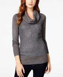 Bcx Junior Girls Sequin Mixed-Knit Cowl-Neck Sweater - Grey - Juniors
