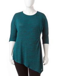 Zac & Rachel Women's Space Dye Tunic Top - Teal - Size: 2X