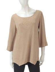 Signature Studio Women's Embellished Suede Top - Tan - Size: Small