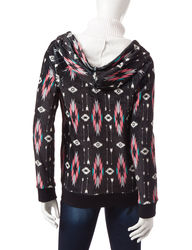 Inspired Hearts Women's Diamond Tribal Print Hoodie - Black - Size: Large