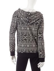 Inspired Hearts Women's Aztec Fleece Hoodie - Ivory/Black - Size: Large
