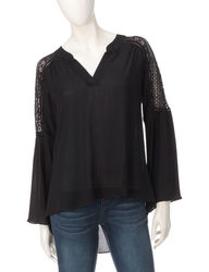 Signature Studio Women's Urban Tribe Lace Shoulder Top- Black- Sz: Medium