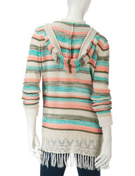 Hannah Women's Marled Striped Knit Hooded Cardigan - Beige - Size: XL