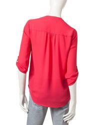 Signature Studio Multicolored Women's Print Top - Red - Size: XL