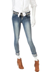 Wishful Park Junior's Medium Wash Aztec Belted Jeans - Light Blue - Sz: 9