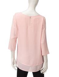 Valerie Stevens Women's Back Zip Layered Look Top - Pink - Size: Medium
