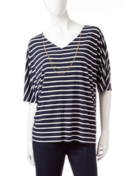 Gloria Vanderbilt Women's Tropez Navy Striped Top - Coral - Size: XL