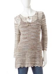US Sweaters Women's 3/4 Sleeve Tie Neck Space Dye Sweater - N C - Size: S
