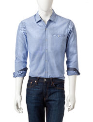 Signature Studio Men's Long-sleeve Neat Check Shirt - Blue - Size: Large