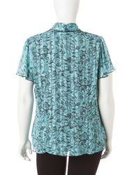 Rebecca Malone Women's Plus Floral Layered-Look Top - Aqua/Black - Size: S