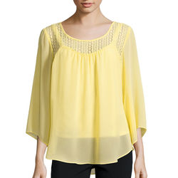 Alyx Women's Lace Sweetheart Angel-Sleeve Top - Yellow - Size: 7
