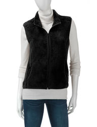 Self Esteem Women's Ivory Super Plush Vest - Black - Small