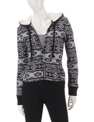 Almost Famous Women's Sherpa Lined Aztec Print Jacket - Grey - Size: Small