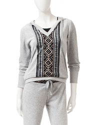 Pink Rose Women's Aztec Front Velour Activewear Hoodie - Medium Grey - M