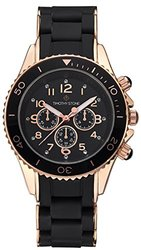 Timothy Stone Women's AMBER SILICONE Black and Rose Gold-Tone Women's Watch