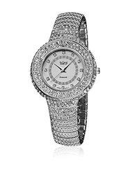 Burgi Women's Diamond Accent Crystal Analog Quartz Watch - Silver Tone