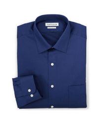 Van Heusen Men's Solid Color Lux Dress Shirt - Blue - Size: 17 1/2 X 32/33