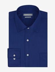 Van Heusen Men's Lux Solid Color Fitted Dress Shirt - Blue - Sz: 17X34/35