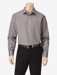 Van Heusen Men's Lux Solid Color Fitted Dress Shirt - Grey - Size:17X32/33