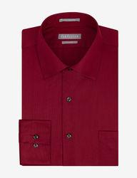 Van Heusen Men's Lux Solid Color Fitted Dress Shirt - Red - Sz: 17 X 34/35