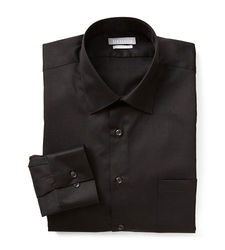 Van Heusen Men's Lux Fitted Dress Shirt - Black - Size: 17 x 32/33
