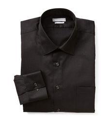 Van Heusen Men's Lux Solid Color Fitted Dress Shirt - Black - Sz: 17X34/35