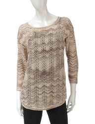 US Sweaters Women's 3/4 Sleeve Wavy Glitter Sweater - Winter Storm - XL