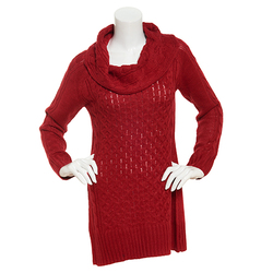 US Sweaters Women's Marilyn Neck Tunic Sweater - Scarlet Red -Size: Large