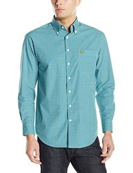 Jack Nicklaus Men's Gingham Long Sleeve Button Down Shirt - Blue - Large