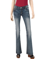 Southpole Girls Flap Back Bootcut Jeans - Blue - Size: 9